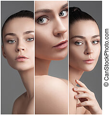 The collage of a beautiful woman with perfect clean skin