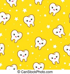 Vector seamless pattern with teeth on a yellow background.
