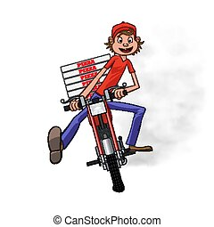 Boy working the pizza delivery. Riding on red motorbike for carries rush order. Fast delivery concept. Front view cartoon style. Vector illustration