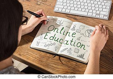 做, 婦女, 教育, 圖表, 在網上