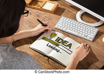 Businesswoman Drawing Idea Concept On Notebook