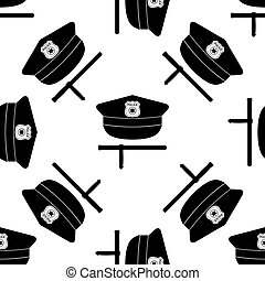 Police cap and baton icon seamless pattern on white background. Vector Illustration
