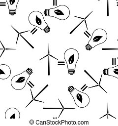 Wind turbine and bulb with leaves as idea of eco-friendly source of energy icon seamless pattern on white background. Vector Illustration