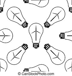Light bulb with a wind turbines as idea of eco-friendly source of energy icon seamless pattern on white background. Vector Illustration