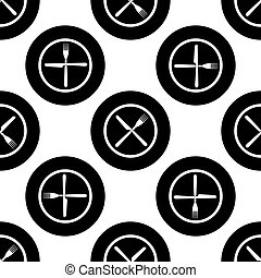 Restaurant icon. Crossed fork and knife seamless pattern on white background. Vector Illustration