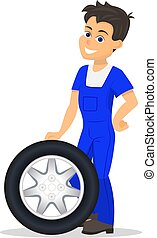 Vector cartoon worker replacement tire wheel - Vector...