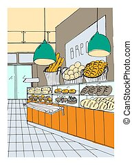 bread department hand drawn colorful illustration, store...