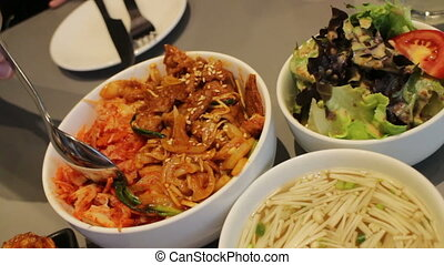 Having Meal With Korean Cuisine, stock video