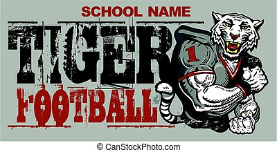 tiger football - distressed tiger football team design for...