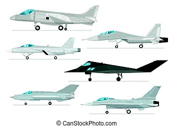 Military jet aircraft isolated vector set - Military jet...