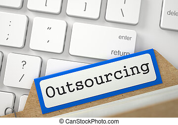 Card Index with Inscription Outsourcing. 3D. - Outsourcing....
