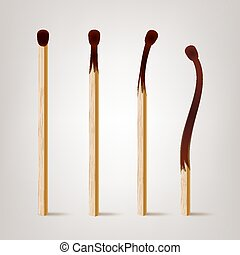 Realistic Burnt Match Vector. Various Stages Of Matches...