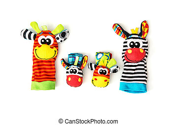Colorful hand puppets and wrist pals, isolated