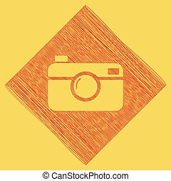 Digital photo camera sign. Vector. Red scribble icon...