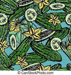 Seamless pattern with cucumber, slice, flower. Colorful hand...