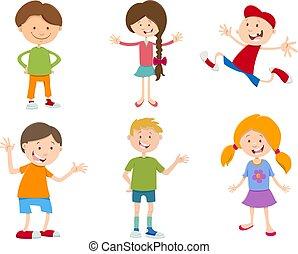 cartoon set of children