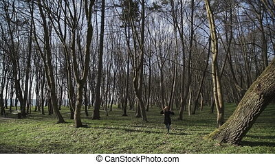 Young Woman Running In Forest Freedom Carelessness Nature...