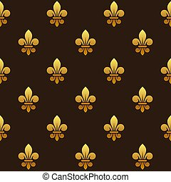 Golden Fleur de lis Seamless Pattern. Vector
