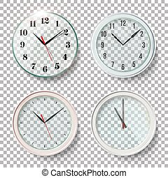 Realistic Wall Clocks Set Vector Illustration. Transparent Face. One Clock For Every Hour. Black Hands. Ready To Apply. Graphic Element For Documents, Templates, Posters, Flyers.
