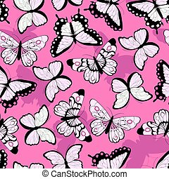 Seamless vector pattern with hand drawn colorful butterflies, pink background