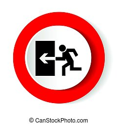 Safe condition sign. Emergency exit. Black icon on white background in a red circle