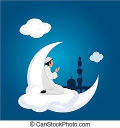 man praying on cloud blue background