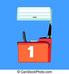 Red cash register terminal, number one vector Illustration