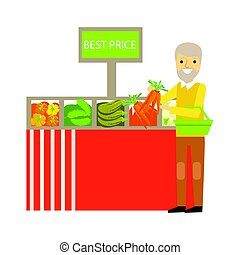 An elderly man choosing vegetables with best prise signboard...