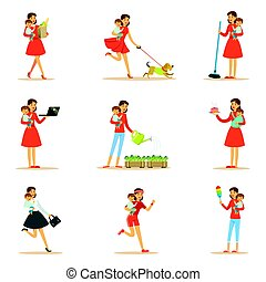 Mother Holding Baby In Arms Doing Different Activities Set Of Illustrations With Supermom And Her Duties