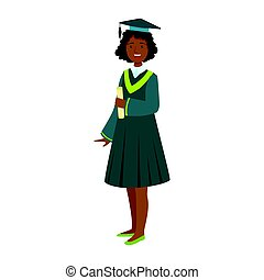 Young girl in student mantle holding diploma. Colorful cartoon illustration
