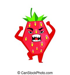 Angry furious strawberry emoticon. Cute cartoon emoji character vector Illustration