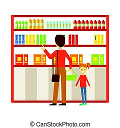 Father and his daughter shopping in the supermarket. Family...