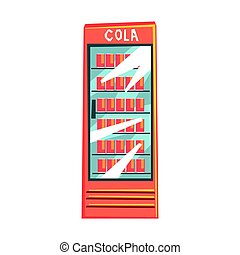 Showcase of refrigerator for cooling cola cans colorful vector Illustration