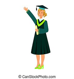 Graduate girl student in mantle holding diploma scroll and raising her hand up. Colorful cartoon illustration