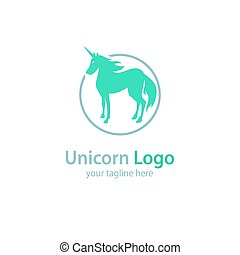 Logo with a unicorn on a white background