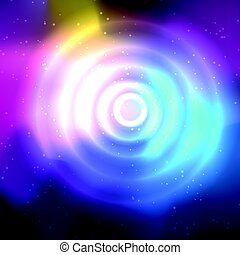 Abstract space background and a circle with flares -...
