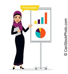 Arab business woman character with digital tablet standing...