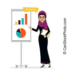 Arab woman shows profit growth. Concept analytics - Arab...