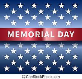 Memorial day background with inscription on a red curved...