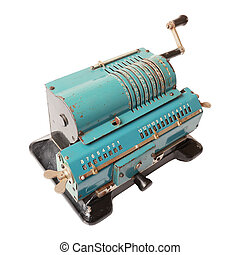 isolated calculating machine - Old blue calculating machine...