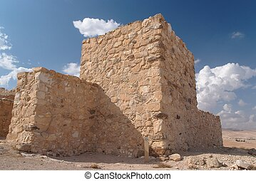 Ancient fortress in Negev desert in Israel