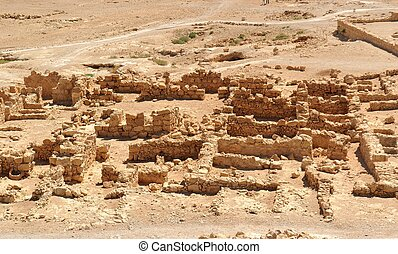 Ruins of ancient Masada fortress in the desert