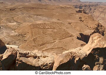 Excavations of ancient Roman camp near Masada fortress in the desert