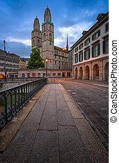 Grossmunster Church in the Morning, Zurich, Switzerland