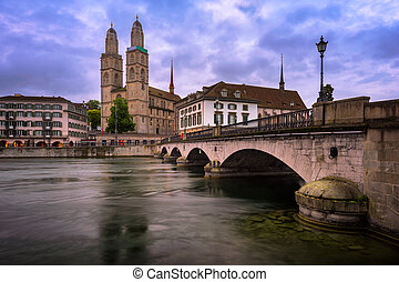 Grossmunster Church and Limmat River in the Morning, Zurich,...