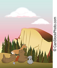 halfdome animals - animals laying in a meadow admiring...