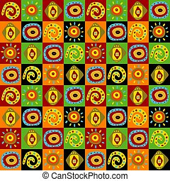 Stylish seamless pattern with abstract ethnic elements -...