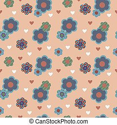 Decorative seamless pattern with flowers and hearts -...