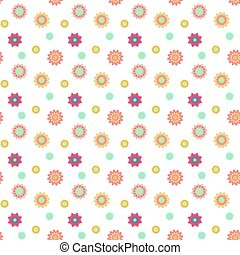 Abstract seamless pattern with colored flowers. Paper flowers