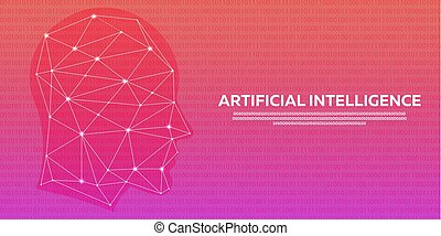 Artificial intelligence, Cybernetic Brain, Binary code. Vector illustration.